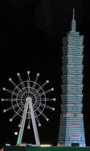 das Riesenrad und das Taipei 101