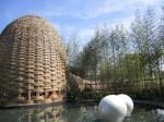 Taiwan Garten - mit einem Pavillon aus Bambus geflochten